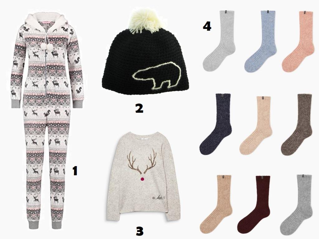 Collage aus Onesie, Wollmütze, Weihnachtspullover und Wollsocken