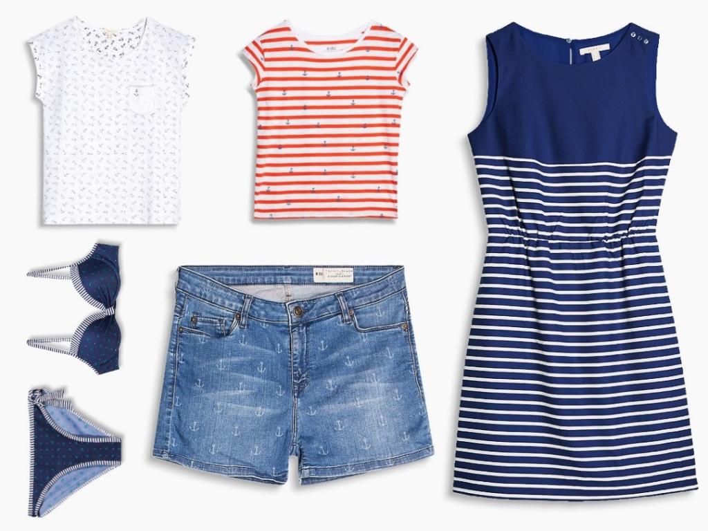 Collage mit maritimen Kleidungsstücken