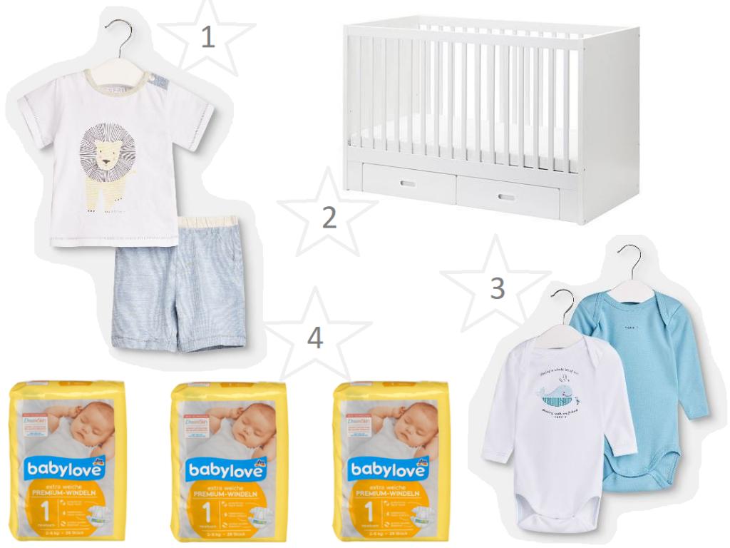 Collage bestehend aus Babykleidung, Babybett und Windeln